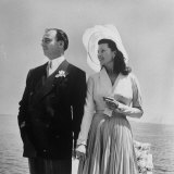 Prince Aly Khan with 2nd Wife, Rita Hayworth at Seaside after Wedding Ceremony in France Premium Photographic Print by Nat Farbman