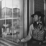 "Actor Hugh O'Brian in Scene from a TV Show ""Wyatt Earp"" Premium Photographic Print by Allan Grant"