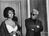 Charlie Chaplin Directing Actress Sophia Loren in Scene from Movie &quot;A Countess from Hong Kong&quot; Premium Photographic Print by Alfred Eisenstaedt