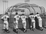Giants Baseball Players with Backs to Camera Waiting for Their Turn in Batting Cage Premium Photographic Print by Jon Brenneis