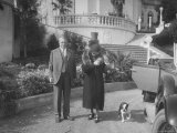 William Randolph Hearst and Mrs. Burton Holmes at San Simeon Estate with Boston Bull Terrier Premium Photographic Print by William Davis