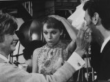 "Actress Mia Farrow and Actor Harvey Laurence on the Set of Her New Movie, "" a Dandy in Aspic"" Premium Photographic Print by Bill Eppridge"