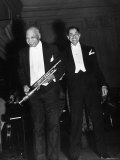 Singer Cab Calloway Standing on Stage with Composer W. C. Handy Premium Photographic Print by Hansel Mieth