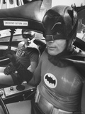 Batman Adam West and &quot;Robin&quot; Burt Ward in Bat Mobile, on Set During Shooting of Scene Premium Photographic Print by Yale Joel