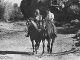Actress Inger Stevens Getting a Ridding Lesson Premium Photographic Print by Allan Grant
