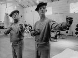 Buster Keaton and Donald O&#39;Connor Holding Up &#39;Dukes&#39;, Practicing for Movie Based on Keaton&#39;s Life Premium Photographic Print by Allan Grant