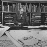 Harvard University Professor Sammuel Eliot Morison Studying a Map in One of Harvard's Libraries Premium Photographic Print by Dmitri Kessel