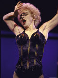 Pop Star Madonna Wearing Skimpy Lingerie While Performing Onstage Premium Photographic Print by David Mcgough