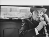 Realtor William J. Zeckendorf, Sitting in the Back Seat of His Limousine Talking on the Telephone Premium Photographic Print by John Loengard