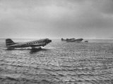 Stranded Planes at La Guardia Airport in Water During Violent Storm Photographic Print by Alfred Eisenstaedt