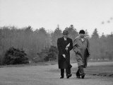 Mathematicians Albert Einstein and Kurt Godel Taking a Walk Premium Photographic Print by Leonard Mccombe