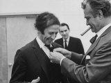 Comedian Marcel Marceau Receiving a Stick Pin from Comedian Red Skeleton Premium Photographic Print by Ralph Crane