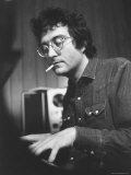 Composer Randy Newman Working at Piano, Smoking Cigarette Premium Photographic Print by Bill Eppridge