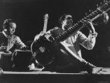 Ravi Shankar Playing at United Nations Concert Premium Photographic Print by Loomis Dean