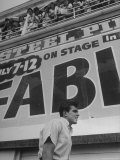 Rock and Roll Singer Fabian Walking Beneath Balcony filled with fans Premium Photographic Print by Alfred Eisenstaedt