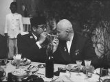 Nikita Khrushchev with Pres. Sukarno Premium Photographic Print by John Dominis