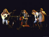 Musicians David Crosby, Neil Young, Graham Nash and Stephen Stills of Group Crosby Performing Premium Photographic Print by David Mcgough
