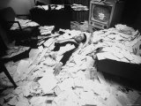 TV Star Merv Griffin Buried in Fan Mail Received When Network Cut His Program Due to Poor Ratings Premium Photographic Print by Yale Joel