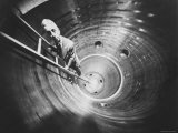 Admiral Hyman Rickover Descent Into Circular Nuclear Reactor Shell at Shipping Port Power Facility Premium Photographic Print by Yale Joel