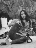 Folk Singer Joan Baez on the Beach with Guitar Near Her Home Premium Photographic Print by Ralph Crane