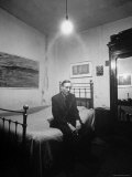 "Author William Burroughs, an Ex Dope Addict, Relaxing on a Shabby Bed in a ""Beat Hotel"", Photographic Print"