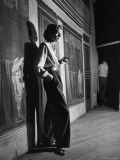 """Actress Lauren Bacall Smoking a Cigarette on the Set of Film, """"Young Man with a Horn"""" Premium fotoprint van Alfred Eisenstaedt"""