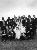 Sen. John F. Kennedy and His Bride Jacqueline Posing with 14 Ushers from Their Wedding Party Premium Photographic Print by Lisa Larsen