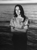 Folk Singer Joan Baez on the Beach Near Her Home Premium Photographic Print by Ralph Crane