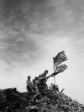 American Marines Replacing Small American Flag with Larger One Atop Mt. Suribachi Photographic Print by Louis R. Lowery