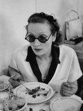 Actress Marlene Dietrich Eating at the Paramount Commissary, Wearing Sunglasses Premium Photographic Print by Alfred Eisenstaedt