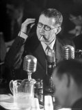 Berthold Brecht Smoking a Cigar During United Nations American Activities Hearing Premium Photographic Print by Martha Holmes