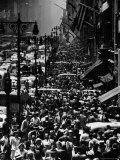 Blocks of Pedestrians Jamming the Sidewalks Photographic Print by Andreas Feininger