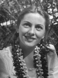 Actress Joan Fontaine Sporting Pigtails and Her Natural Freckles in Yard at Home Premium Photographic Print by Bob Landry