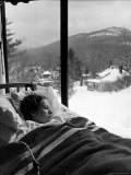 Female Tuberculosis Patient Lying under an Electric Blanket in Bed on Large Porch Premium Photographic Print by Alfred Eisenstaedt