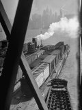 Tug Boats Muscling Barges Loaded with Lehigh Valley Railroad Freight Cars from New York City Premium Photographic Print by Andreas Feininger