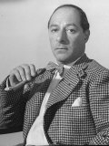 Comedian George Jessel, Wearing Houndstooth Jacket and Bow Tie, Holding Unlit Cigar Premium Photographic Print by John Florea