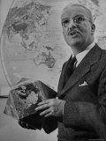 American Engineer and Architect Buckminster Fuller Holding a Globe Premium Photographic Print by Andreas Feininger