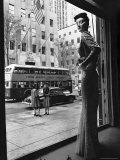 Women Standing on Sidewalk of 5th Avenue Across from Window of Saks Department Store Premium Photographic Print by Alfred Eisenstaedt