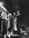 Maestro Leonard Bernstein Conducting Vocal Soloists and NY Philharmonic in Rehearsal, Carnegie Hall Premium Photographic Print by Alfred Eisenstaedt