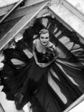 Model Wearing Rose Decked Gorgeous Gown by Traina Norell Premium Photographic Print by Nina Leen