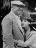 Italian Movie Director Carlo Ponti and His Actress Wife Sophia Loren Outside Villa Premium Photographic Print by Alfred Eisenstaedt