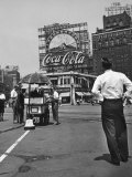 Coca Cola Sign and Thermometer Registering 100 Degrees during Columbus Circle Heat Wave in NY Photographic Print by Marie Hansen