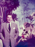 Walt Disney Posing Against Landscape Backdrop Containing Mickey Mouse Premium Photographic Print by Alfred Eisenstaedt