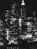 Nightime View of New York City Skyscrapers drom the Shores of New Jersey Photographic Print by Andreas Feininger