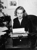 Actress Carole Lombard Typing While Holding Pencil Firmly in Her Mouth Premium Photographic Print by Rex Hardy Jr.