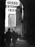 Arched Entrance of Building, and buildings beyond during Philadelphia's Sesqui Centennial Premium Photographic Print by E O Hoppe