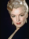 Actress Marilyn Monroe Wearing Dangling Rhinestone Earrings, with Her Hair Up Premium Photographic Print by Ed Clark