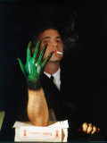 Man Displaying His Hand showing a Direct Result of Nicotine in Cigarette Smoke Fototryk i hj kvalitet af Henry Groskinsky
