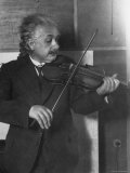 Physicist Albert Einstein Photographed by E. O. Hoppe Playing Violin Premium Photographic Print by E O Hoppe