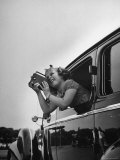 Child Actress Shirley Temple Taking Pictures of Famous Sites from Her Car Premium Photographic Print by Thomas D. Mcavoy